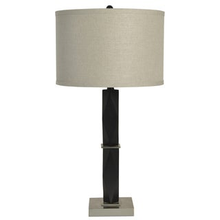 Square Black/Silver Metal/Fabric Table Lamp