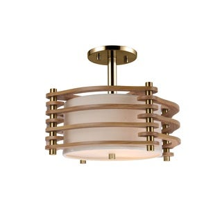 Woodbridge Lighting Steps 3-light Wood and Fabric Semi Flush Mount Fixture