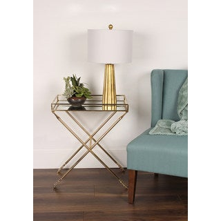 Porch & Den Alamo Heights Viesca Arrow Metal Accent Table with Mirrored Tray Top