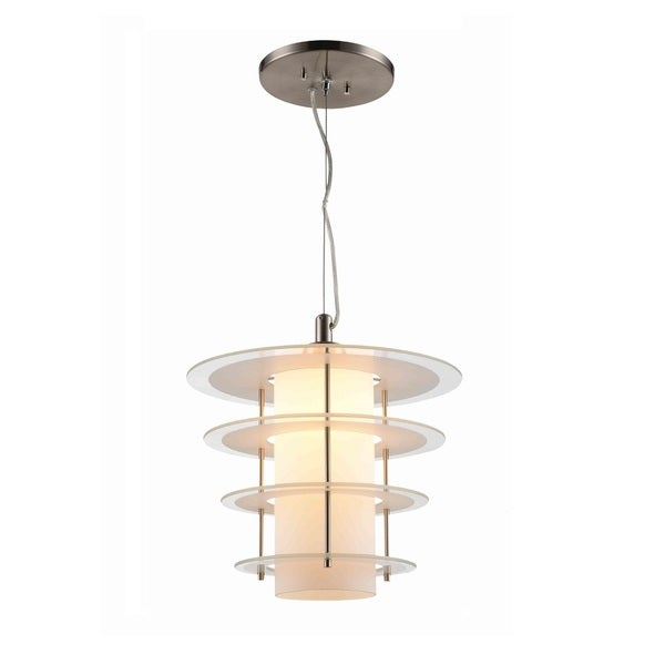 Woodbridge Lighting 14823-DS1GFR Layers Nickel-finished Steel 1-light Clear Glass with Frosted Ring Mid-pendant