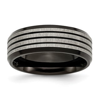 Titanium Striped 8mm Black Band