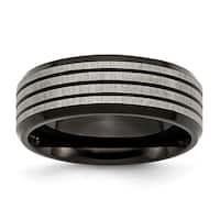 Titanium Striped 8mm Black Band