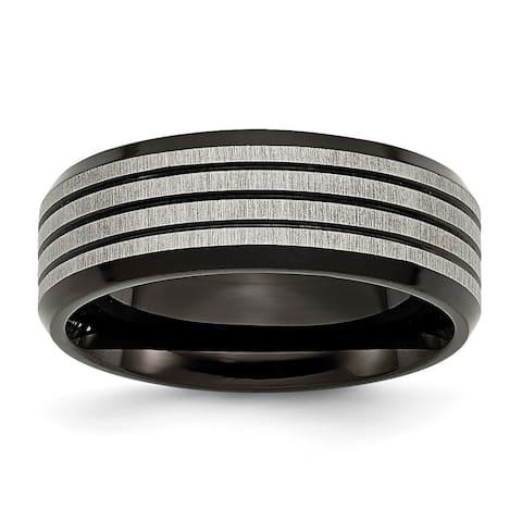 Chisel Titanium Striped High Polish and Brushed 8mm Black Band