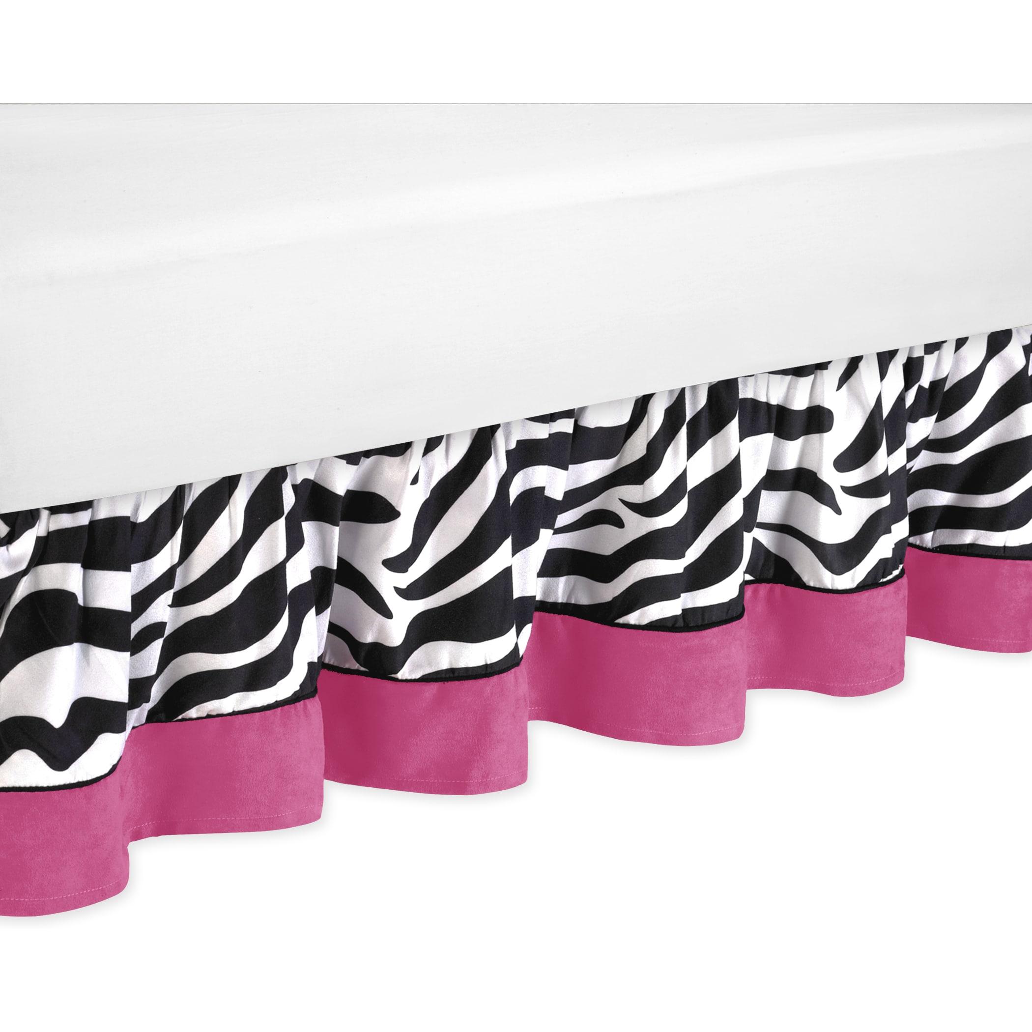 JoJo Designs Pink Funky Zebra Toddler Bedskirt (Pink, Bla...