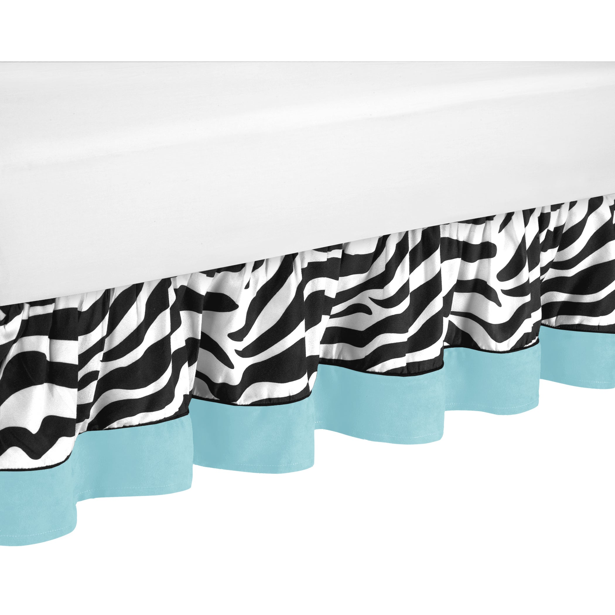 JoJo Designs Turquoise Funky Zebra Toddler Bedskirt (Turq...