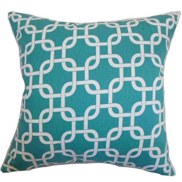 Qishn Geometric Euro Sham Turquoise