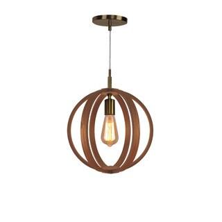 Woodbridge Lighting 16923-WLG2 Celestial Brass-finish Wood 1-light Mid-pendant Fixture