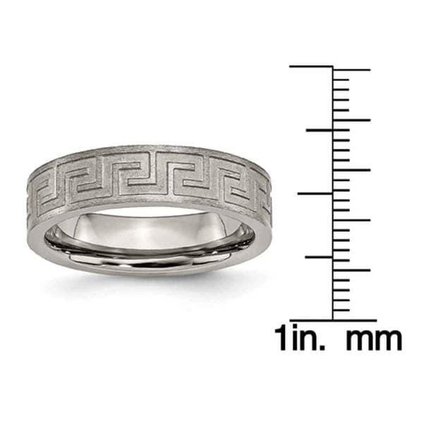 Titanium 6mm Satin Notched Mens Ring Band Size 10