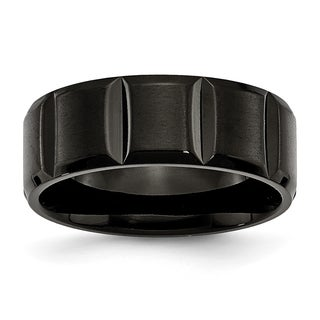 Titanium Grooved Black 8mm Band