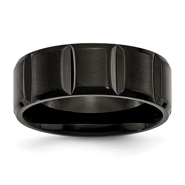 Chisel Titanium Grooved Black 8mm Band
