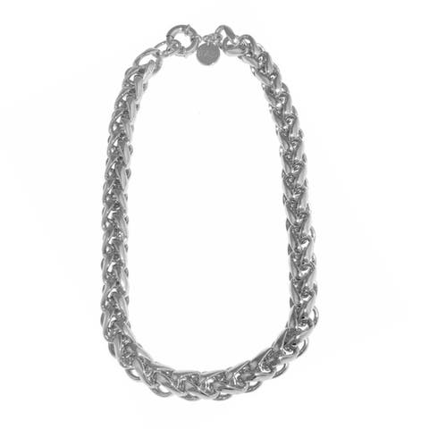 Isla Simone - Fine Silver Plated Herringbone Link Necklace With Large Spring Ring
