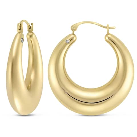 Forever Last 10k Yellow Gold Swarovski Crystal Accent Round Hoop Earrings