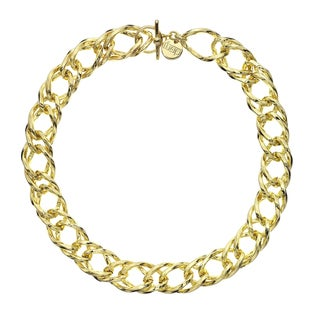 Isla Simone - 18 Karat Gold Electro Plated Rope Link Chain Necklace With Clasp