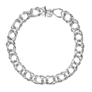 Isla Simone - Fine Silver Plated Rope Link Chain Necklace With Clasp