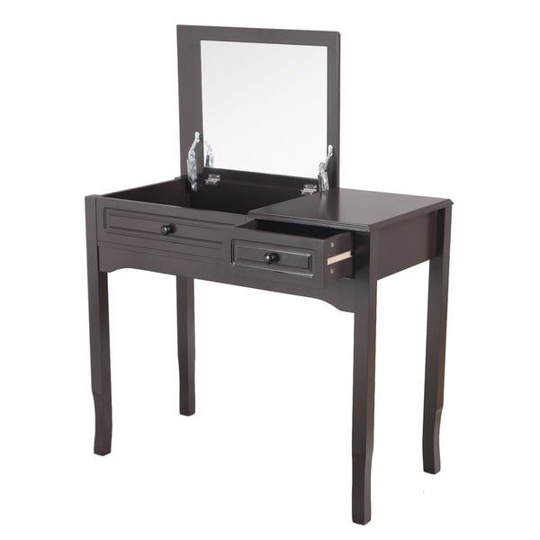 Adeco Accent MIrror and Brown Rectanglular Table