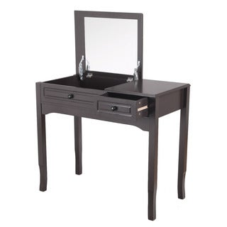 Adeco Accent MIrror and Brown Rectanglular Vanity Table