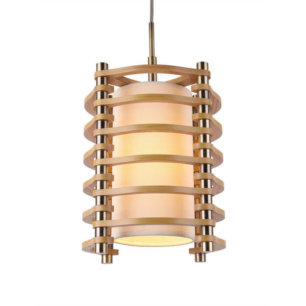 Woodbridge Lighting 16023-WSA1 Steps Round Wood 1-light Mid-pendant Fixture