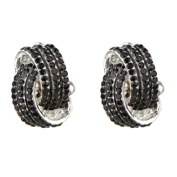 Brass Black Rhinestone Love Knot Clip On Earrings