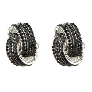 Brass Black Rhinestone Love Knot Clip On Earrings