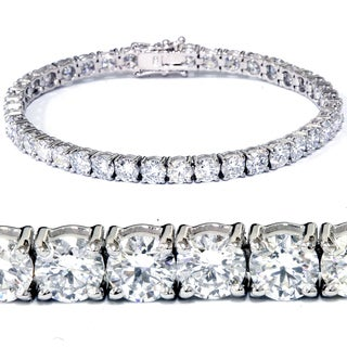 18k White Gold 12.36 ct TDW Lab Grown Eco Friendly Round Diamond Tennis Bracelet (F-G,SI1-SI2)