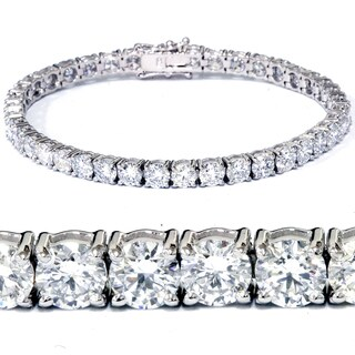 18k White Gold 12.36 ct TDW Lab Grown Eco Friendly Round Diamond Tennis Bracelet