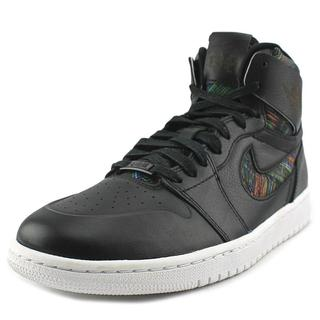Jordan Men's 'Air Jordan 1' Black Leather Retro High-top Athletic Shoes