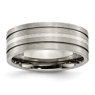 Titanium Grooved Sterling Silver Inlay 8mm Band