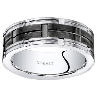 Oravo Mens Moscaic Black Center Cobalt Wedding Band Ring