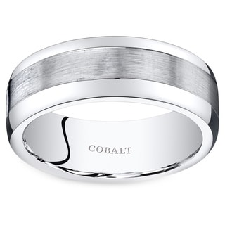 Oravo Men's Black Cobalt Rounded-edge Wedding Band Ring