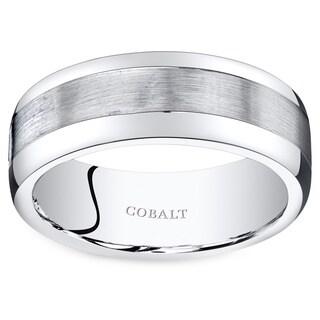 Oravo Men's Black Cobalt Rounded-edge Wedding Band Ring