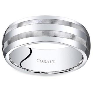 Oravo Men's Brush Stripes Cobalt 8-millimeter Beveled-edge Wedding Band Ring