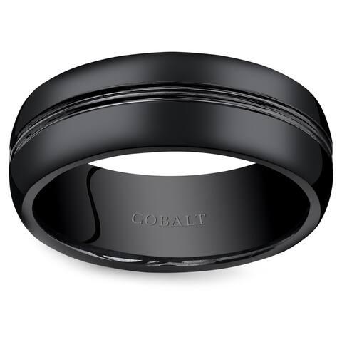Oravo Men's Black Cobalt 8-millimeter Double Groove Wedding Band Ring