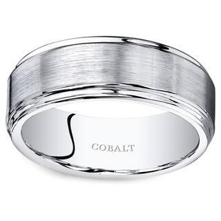 Oravo Men's Black Cobalt 8-millimeter Round-edge Flat-brushed Wedding Band Ring https://ak1.ostkcdn.com/images/products/12885447/P19644501.jpg?impolicy=medium