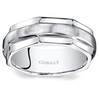 Oravo Men's Cobalt 8-millimeter Hexagonal-edge Comfort-fit Wedding Band Ring