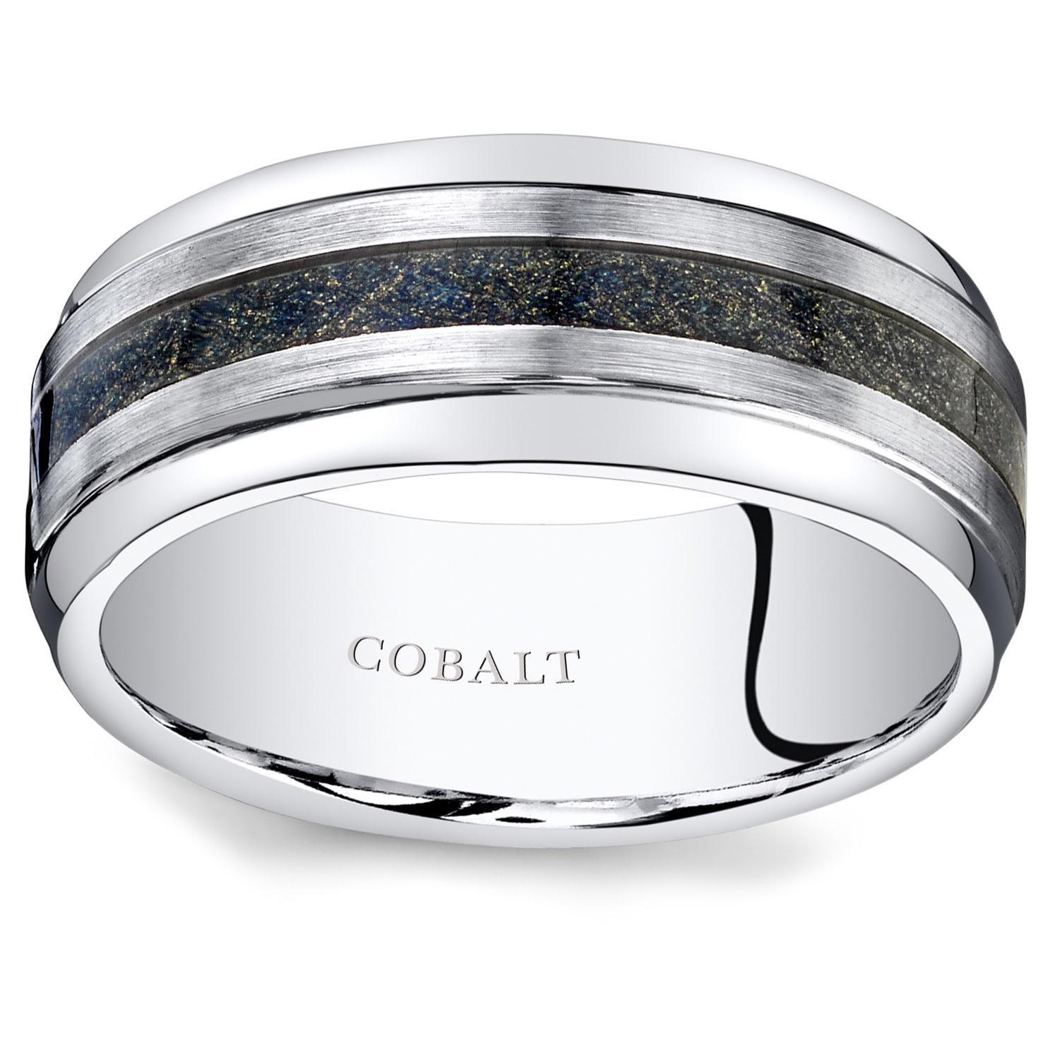 Oravo Men's Brushed Cobalt Carbon Fiber 9mm Wedding Ring ...