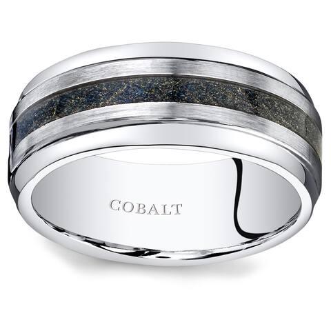 Oravo Men's Brushed Cobalt Carbon Fiber 9mm Wedding Ring
