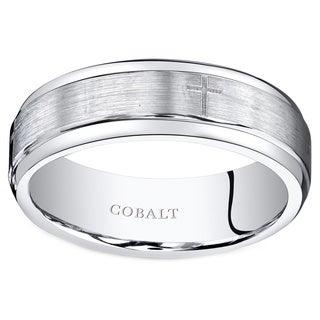 Oravo Men's Black Brush Finish Cobalt Cross Motif Wedding Band Ring