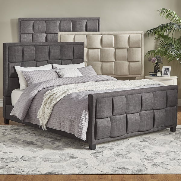 Shop Porter Linen Woven Upholstered Bed With Footboard By