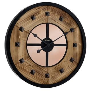 Bulova C4822 Murray Hill Brown Wood/Metal 24-inch Analog Aged Metal Frame Hardwood Insert Wall Clock