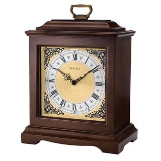 Bulova Thomaston B1511 Dark Brown Hardwood Chiming Analog Mantel Clock
