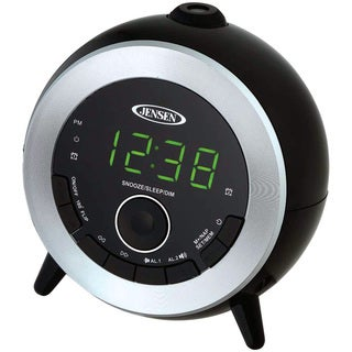 Jensen Black/Silver Dual-alarm Clock Radio with LED Projection