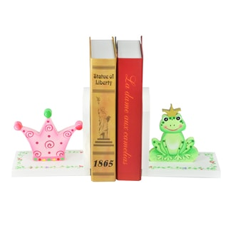 Teamson Fantasy Fields White Wood and MDF Princess and Frog Set of Bookends (Set of 2)
