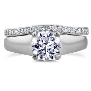 Annello by Kobelli 14k White Gold 1 1/6ct TDW Round Diamond Solitaire and Diamond Wedding Band Brida
