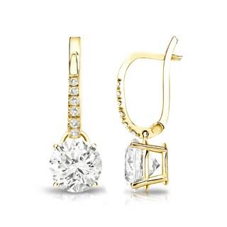 Auriya 14k Gold 1 3/4ct TDW Round Cut Diamond Dangle Earrings (J-K, I1-I2)