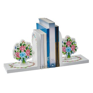 Fantasy Fields White Wood and MDF Bouquet Bookends (Pack of 2)