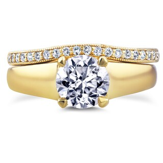 Annello by Kobelli 14k Yellow Gold 1 1/6ct TDW Round Diamond Solitaire and Diamond Wedding Band Brid