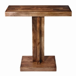 Pedestal Mango Wood Console Table- Walnut Finish