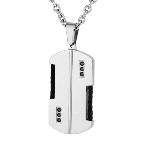 Men's Stainless Steel and Black Cubic Zirconia Dog Tag