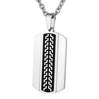 Men's Stainless Steel Black-plated Texture Dog Tag