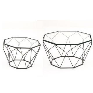 Urban Designs Modern Diamond Bl;ack Metal and Glass Coffee Table and End Table Set